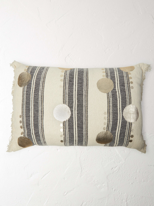 White Stuff Metallic Spot Cushion