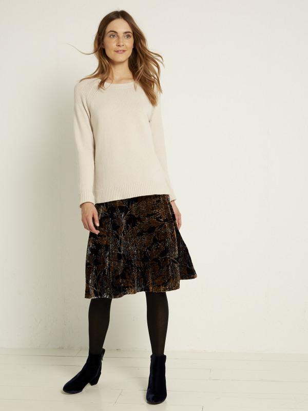 White Stuff Viola Print Crush Velvet Skirt