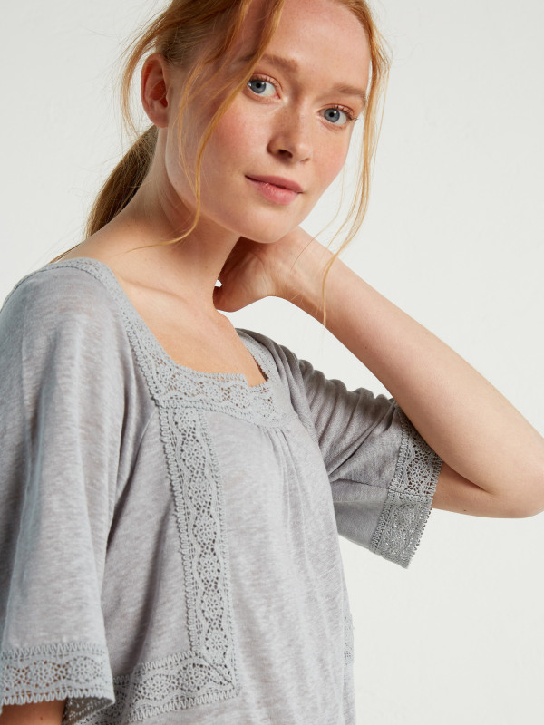 White Stuff Heidi High Linen Jersey Tee