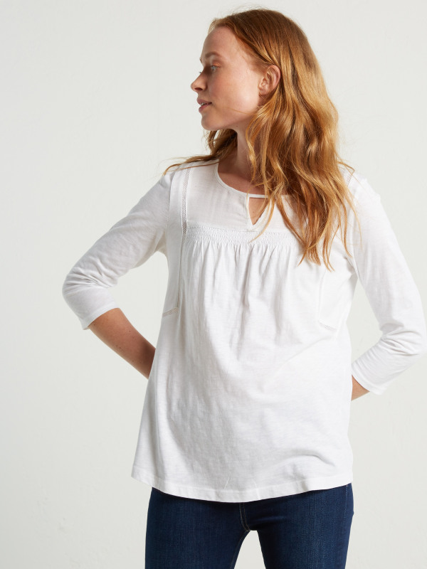White Stuff Cleo Shirring Jersey Tee