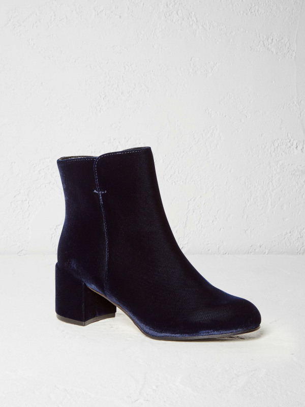 White Stuff Ellen Velvet Block Heel Boot