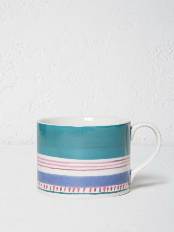 White Stuff Teal Multi Stripe Mug
