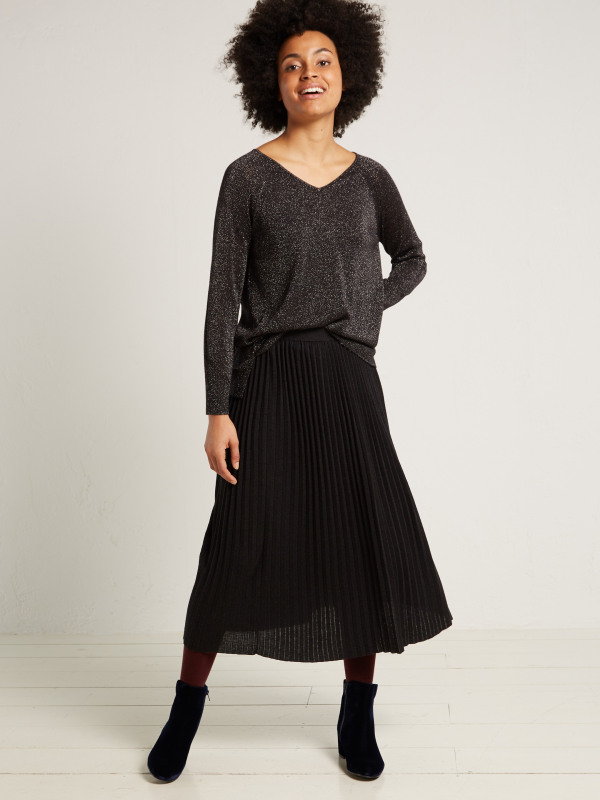 White Stuff Lucia Pleated Knitted Skirt