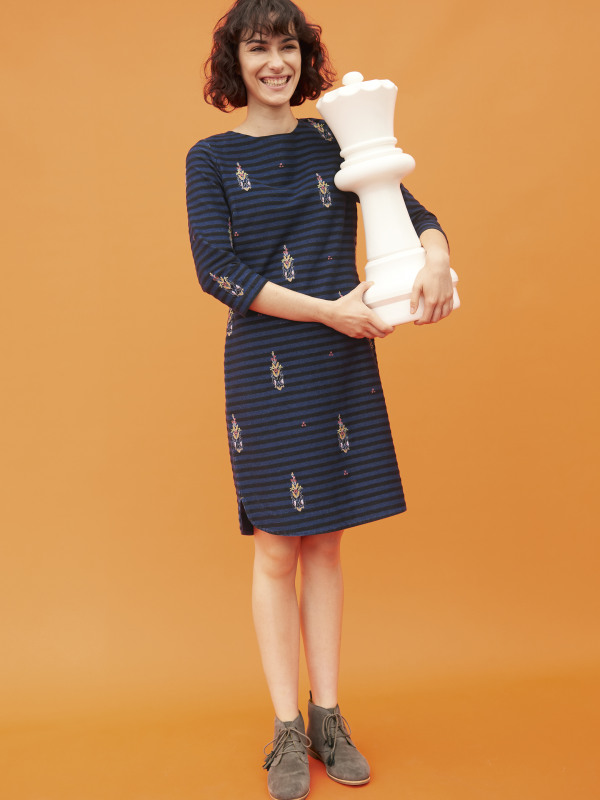 White Stuff Pretty Tile Emb Jersey Dress