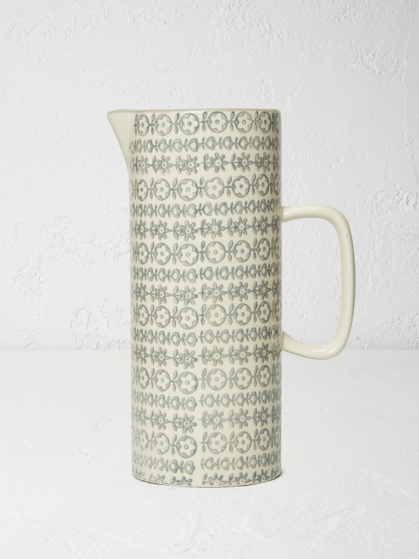 White Stuff Tall Grey Print Jug