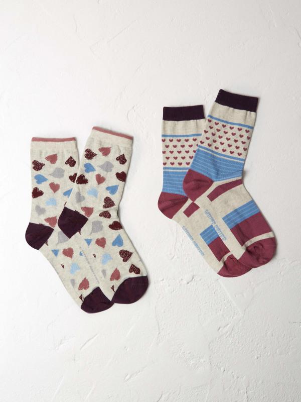 White Stuff Scattered Heart 2 Pack Socks