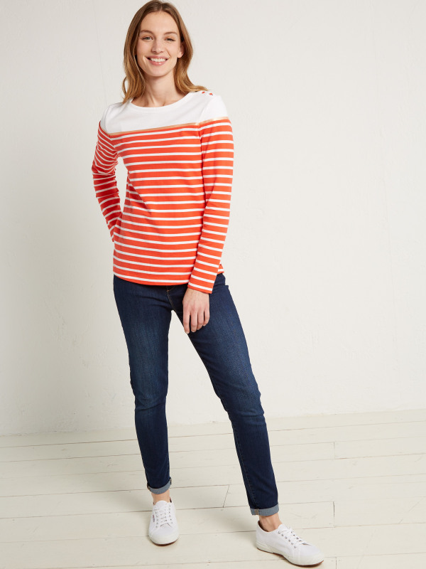 White Stuff Poppy Stripe Jersey Tee