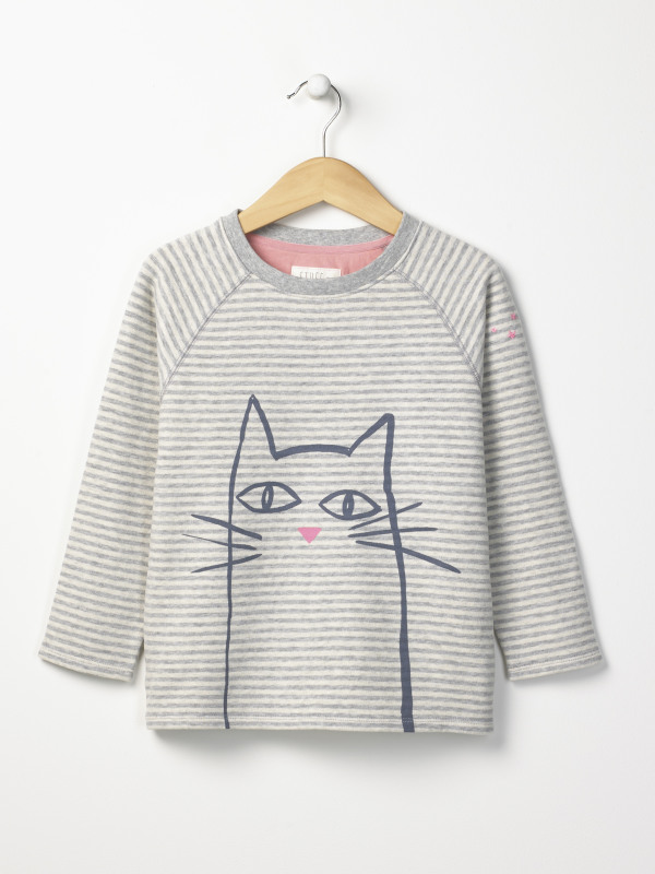 White Stuff Cat Stripe Sweat Top