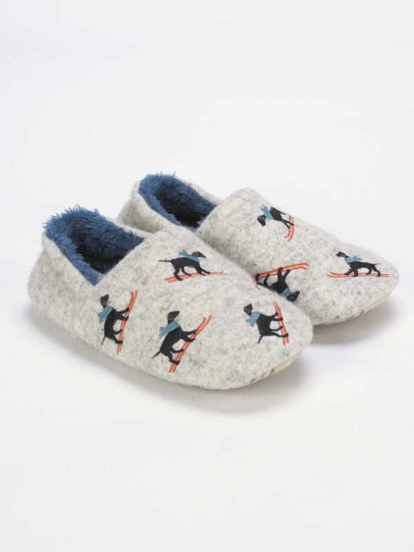 White Stuff Boys Skiing Dogs Slipper