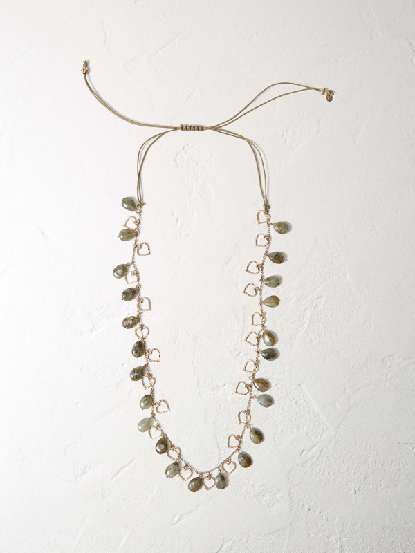 White Stuff Outline Heart & Stone Necklace