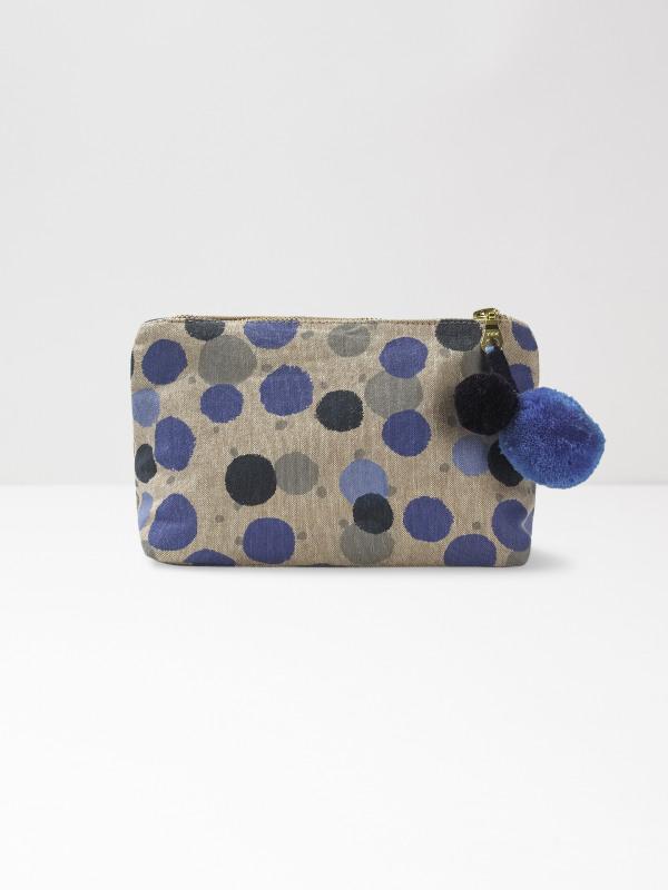 White Stuff Blue Multi Spot Make Up Bag