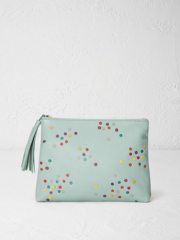 White Stuff Spotty Leather Make Up Bag