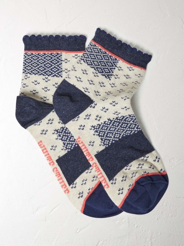 White Stuff Patchwork Pom Frill Sock