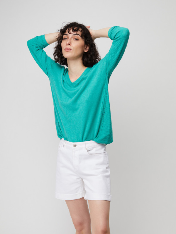 White Stuff Cactus V Neck Jumper