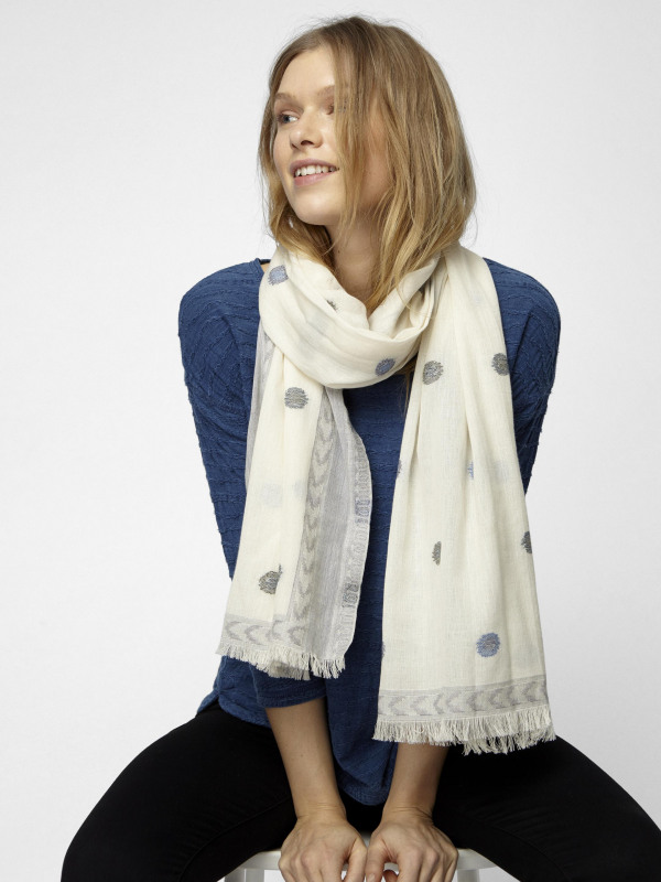 White Stuff Jacquard Spotty Scarf