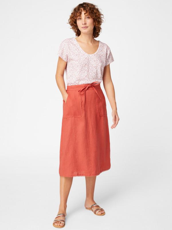 White Stuff Portia Plain Linen Skirt