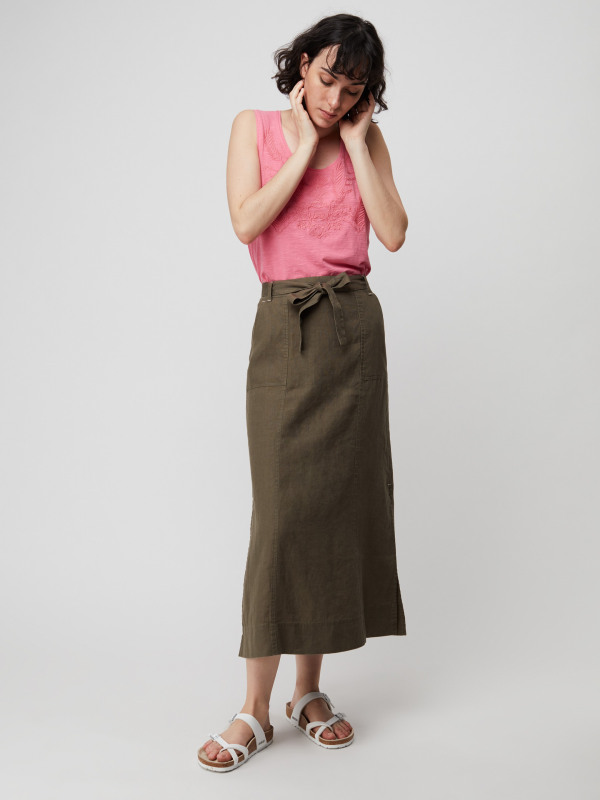 White Stuff Ione Plain Linen Maxi Skirt