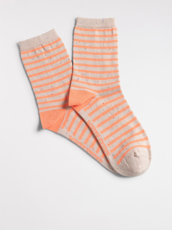 White Stuff Stripe Neon Nep Sock