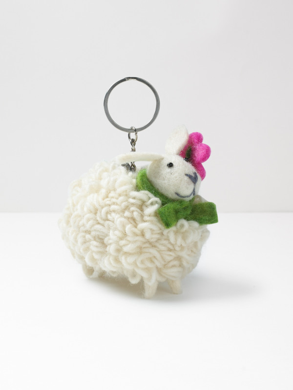 White Stuff Sheep With Flower Keyring
