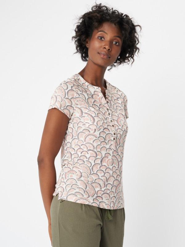 White Stuff Ditsy Daisy Linen Jersey Shirt