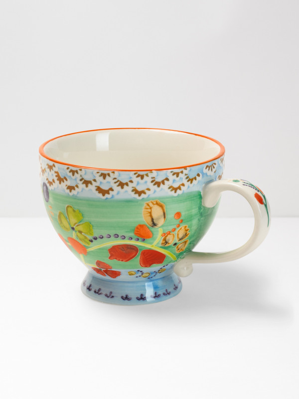 White Stuff Mint Flower Decorative Mug