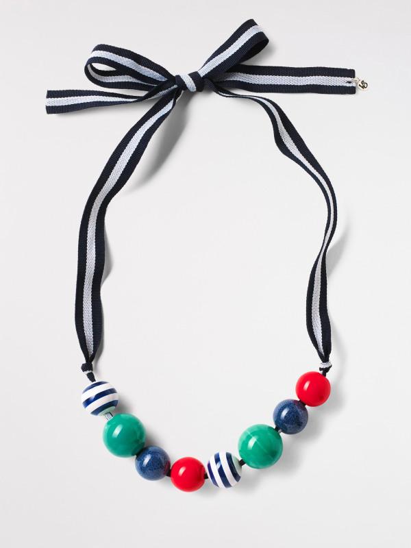White Stuff Ceramic Stripe Bead Necklace