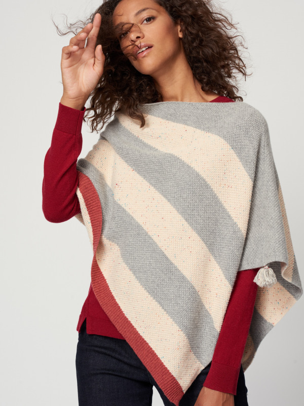 White Stuff Stripe Tassel Poncho