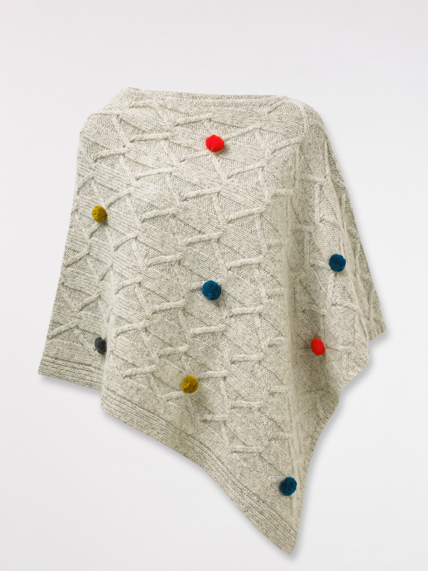 White Stuff Cable Pom Pom Poncho