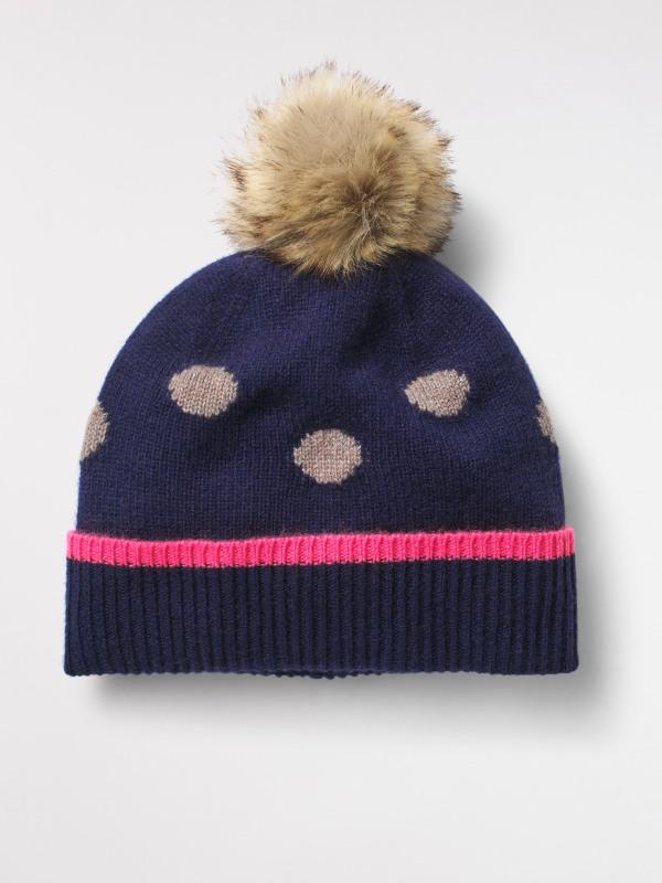 White Stuff Cashmere Spot Pom Hat