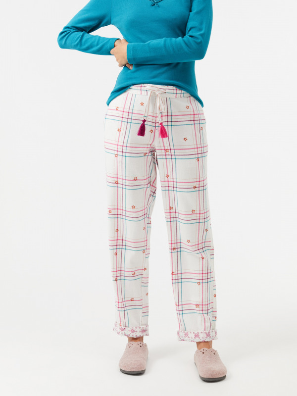 White Stuff Sparkle Check Emb PJ Bottom