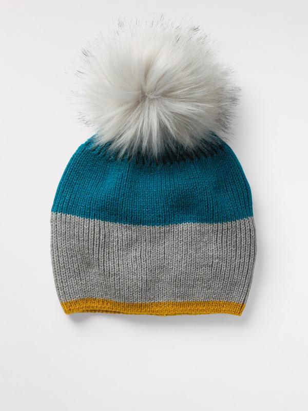 White Stuff Shimmer Colourblock Bobble Hat