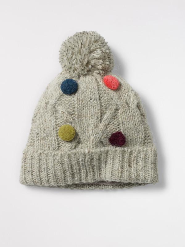 White Stuff Kids Cable Pom Hat