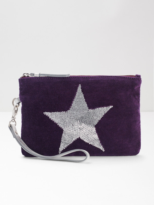 White Stuff Velvet Sequin Star Pouch