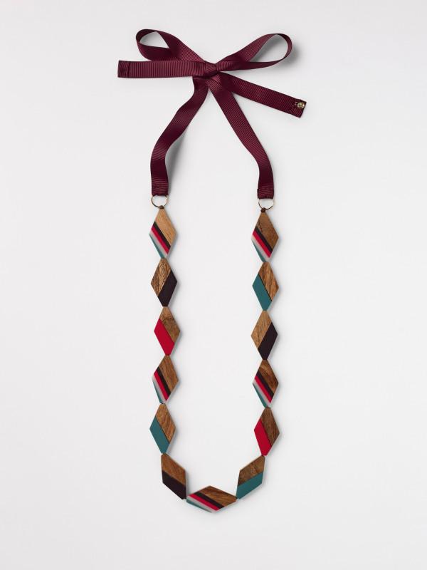 White Stuff Diamond Wood & Resin Necklace