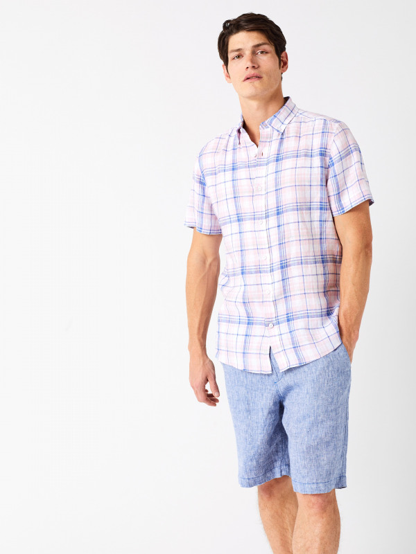 White Stuff Lymington Check Short Sleeve Linen Shirt