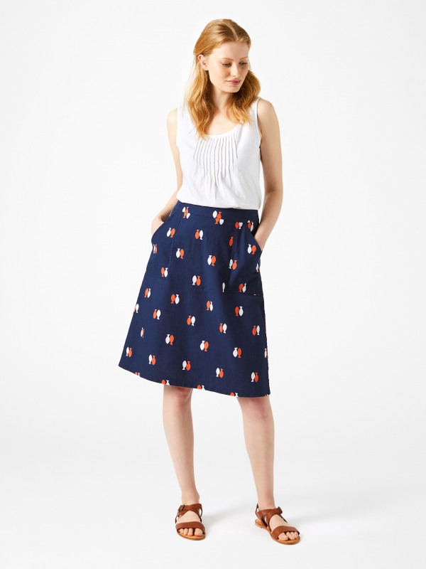 White Stuff Aubrey Fish Print Skirt