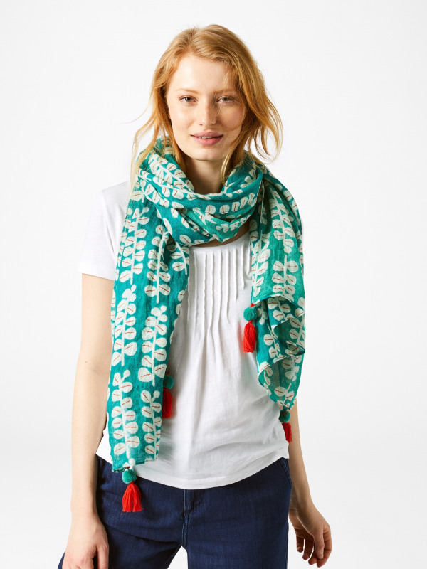 White Stuff Printed Linen Floral Scarf
