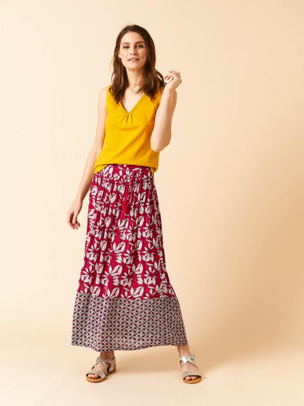 White Stuff Leaf Print Crinkle Maxi Skirt