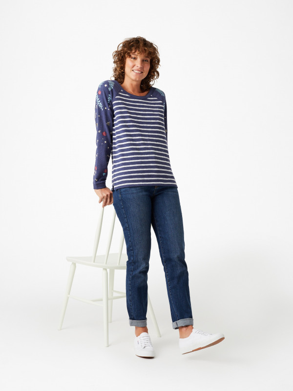 White Stuff Embroidered Sally Stripe Sweat