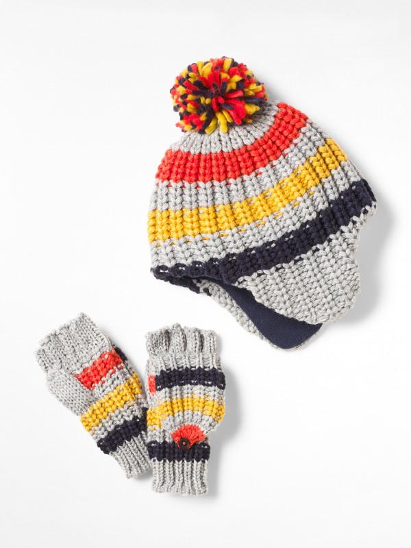 White Stuff Kids Stripe Hat & Flip Mitt Set