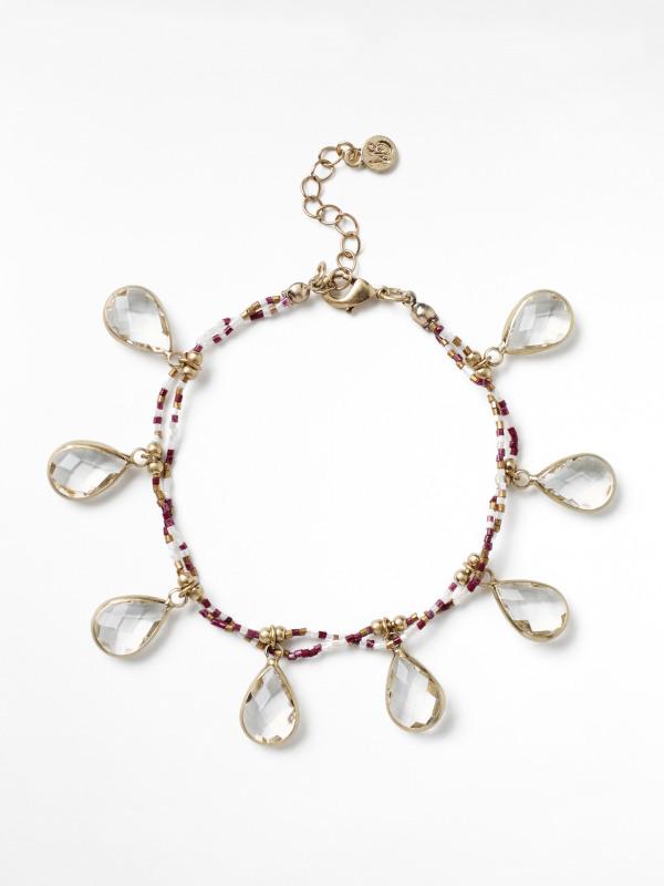 White Stuff Glass Faceted Bracelet