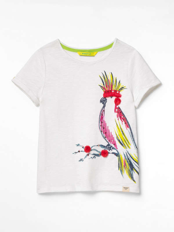 White Stuff Party Parrot Jersey Tee