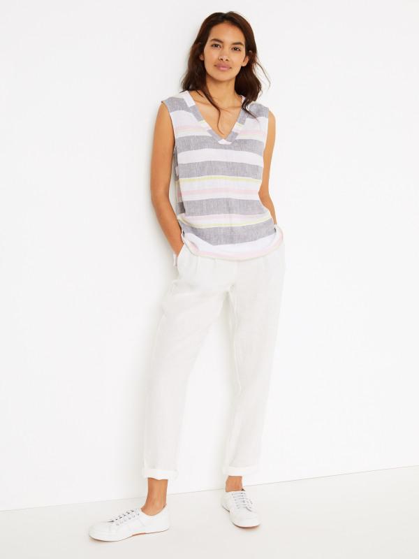 White Stuff Island Stripe Linen Vest