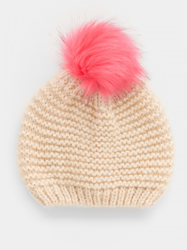 White Stuff Fluffy Sequin Pom Hat