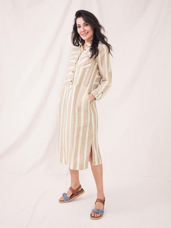 White Stuff Imman Linen Stripe Shirt Dress