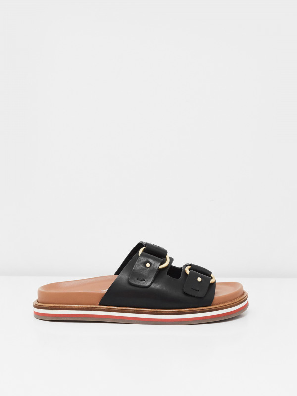 White Stuff Double Strap Leather Footbed