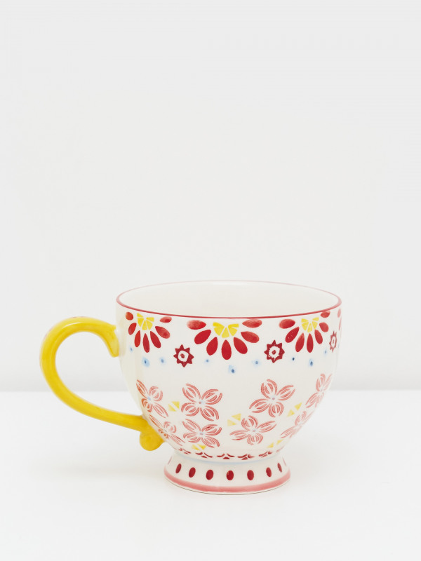 White Stuff Block Print Decorative Mug