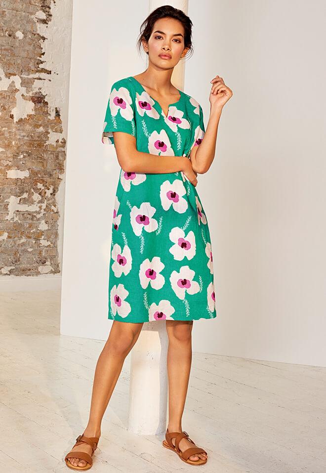 Sprig Linen Dress & Olivia Flat Sandals