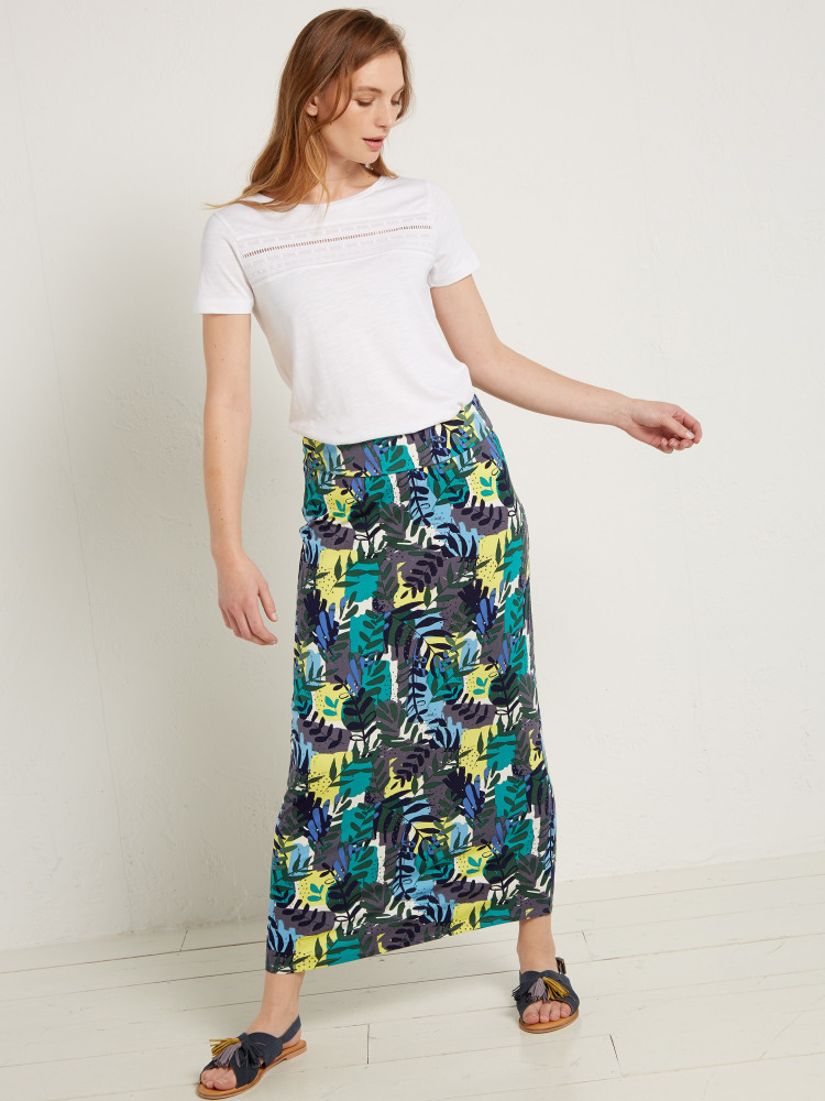 Tropical Leaf Jersey Skirt