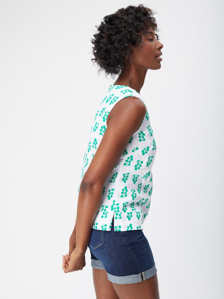 Limewood Print Linen Vest